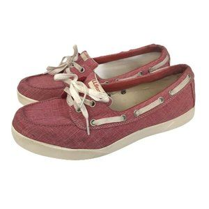 LL Bean Womens Boat Shoes Red Round Moc Toe Flats